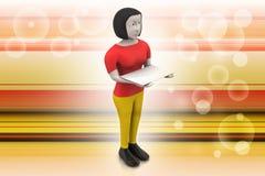 τρισδιάστατη γυναίκα με το ε - ταχυδρομείο Στοκ εικόνα με δικαίωμα ελεύθερης χρήσης