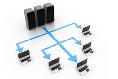 τρισδιάστατη εικόνα δικτύων υπολογιστών που δίνεται διανυσματική απεικόνιση