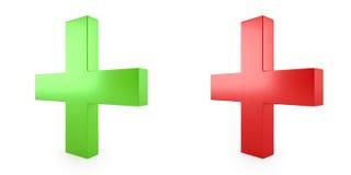 τρισδιάστατη εικόνα, πράσινος και κόκκινος συν ιατρικό Στοκ εικόνες με δικαίωμα ελεύθερης χρήσης