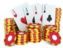 τρισδιάστατη εικόνα renderer Κόκκινα σημεία χαρτοπαικτικών λεσχών και κάρτες παιχνιδιού Στοκ φωτογραφίες με δικαίωμα ελεύθερης χρήσης
