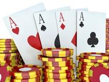 τρισδιάστατη εικόνα renderer Κόκκινα σημεία χαρτοπαικτικών λεσχών και κάρτες παιχνιδιού Στοκ Φωτογραφία