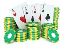 τρισδιάστατη εικόνα renderer Πράσινα σημεία χαρτοπαικτικών λεσχών και κάρτες παιχνιδιού Στοκ Εικόνες