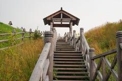 τρισδιάστατη επιτυχία σκαλοπατιών απεικόνισης έννοιας ξύλινη Στοκ Εικόνα