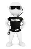 τρισδιάστατη λευκιά φρουρά ασφάλειας ανθρώπων Στοκ Φωτογραφίες