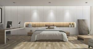 τρισδιάστατη ευρεία όμορφη κρεβατοκάμαρα απόδοσης με το ξύλινο πάτωμα Στοκ Εικόνες