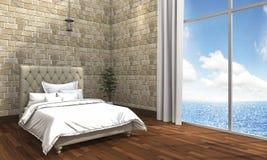 τρισδιάστατη ελάχιστη κρεβατοκάμαρα απόδοσης με την άποψη τουβλότοιχος και θάλασσας Στοκ Φωτογραφίες