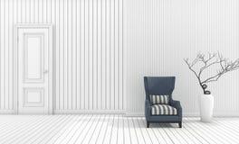 τρισδιάστατη ελάχιστη πολυθρόνα απόδοσης με το άσπρο βάζο στο άσπρο καθιστικό Στοκ Εικόνες