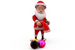 τρισδιάστατη ελαφριά έννοια Χριστουγέννων Άγιου Βασίλη Στοκ Εικόνες