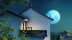 τρισδιάστατη ζωτικότητα του παλαιού ασιατικού σπιτιού στο φως φεγγαριών απόθεμα βίντεο