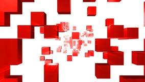 τρισδιάστατη ζωτικότητα των κόκκινων κύβων που πηγαίνουν κατευθείαν