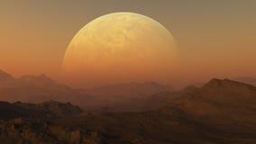 τρισδιάστατη διαστημική τέχνη: Αλλοδαπός πλανήτης στοκ εικόνες με δικαίωμα ελεύθερης χρήσης