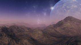 τρισδιάστατη διαστημική τέχνη: Αλλοδαπός πλανήτης Στοκ Εικόνα