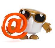 τρισδιάστατη διεύθυνση ηλεκτρονικού ταχυδρομείου φλυτζανιών καφέ Στοκ εικόνες με δικαίωμα ελεύθερης χρήσης