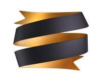 τρισδιάστατη διπλή χρυσή μαύρη κορδέλλα που απομονώνεται στο άσπρο υπόβαθρο Στοκ Φωτογραφίες