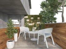 τρισδιάστατη καρέκλα πεζουλιών συνεδρίασης απόδοσης κοντά στη φύση Στοκ Φωτογραφίες
