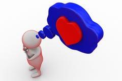τρισδιάστατη καρδιά ατόμων στην έννοια φυσαλίδων Στοκ Εικόνα