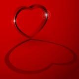τρισδιάστατη καρδιά με τη σκιά Στοκ Φωτογραφίες