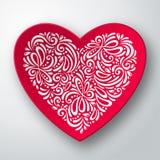 Τρισδιάστατη καρδιά με το άσπρο σχέδιο Στοκ Εικόνες
