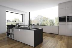 τρισδιάστατη κουζίνα πατωμάτων απόδοσης ξύλινη και ελάχιστη τραπεζαρία με την άποψη από το παράθυρο Στοκ Φωτογραφία