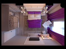 τρισδιάστατη κρεβατοκάμαρα απόδοσης στους γκρίζους και άσπρους τόνους με τις πορφυρές εμφάσεις και το μεγάλο ντουλάπι διανυσματική απεικόνιση