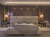 τρισδιάστατη κλασική κρεβατοκάμαρα απόδοσης με το ντεκόρ πολυτέλειας και το ρομαντικό κρεβάτι Στοκ Φωτογραφία