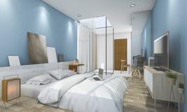 τρισδιάστατη μπλε εκλεκτής ποιότητας κρεβατοκάμαρα απόδοσης με τη συμπαθητική διακόσμηση Στοκ φωτογραφίες με δικαίωμα ελεύθερης χρήσης