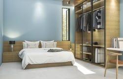 τρισδιάστατη μπλε εκλεκτής ποιότητας κρεβατοκάμαρα απόδοσης με το συμπαθητικό γραφείο υφασμάτων Στοκ Εικόνες