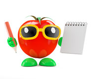 τρισδιάστατη ντομάτα με το σημειωματάριο και το μολύβι Στοκ Φωτογραφίες
