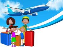 τρισδιάστατη οικογένεια κινούμενων σχεδίων που πηγαίνει στις διακοπές απεικόνιση αποθεμάτων