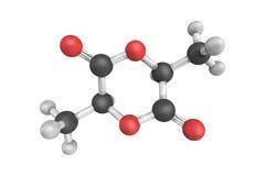 τρισδιάστατη δομή Lactide, ο κυκλικός διεστέρας του γαλακτικού οξέος απεικόνιση αποθεμάτων
