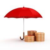 τρισδιάστατη ομπρέλα και χρυσά νομίσματα, οικονομική έννοια αποταμίευσης Στοκ Εικόνες