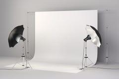 τρισδιάστατη οργάνωση στούντιο με τα φω'τα και το άσπρο υπόβαθρο Στοκ εικόνες με δικαίωμα ελεύθερης χρήσης
