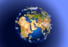 τρισδιάστατη πίσω ποιότητα πλανητών μητέρων φωτισμού της γήινης Ευρασίας υψηλή που δίνει τα διαστημικά αστέρια Στοκ Εικόνες