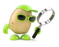 τρισδιάστατη πατάτα πιό magnifier διανυσματική απεικόνιση