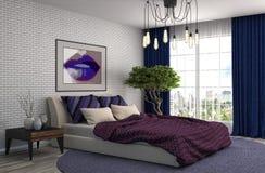 τρισδιάστατη περιβαλλοντική εσωτερική αστραπή κρεβατοκάμαρων που δίνεται τρισδιάστατη απεικόνιση Στοκ Φωτογραφία