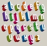 τρισδιάστατη πηγή, διανυσματικές ζωηρόχρωμες επιστολές, γεωμετρικό διαστατικό αλφάβητο Στοκ Εικόνες