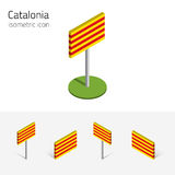 τρισδιάστατη σημαία της Καταλωνίας Ισπανία, διανυσματικό σύνολο isometric επίπεδων εικονιδίων Στοκ Εικόνα