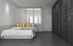 τρισδιάστατη σκοτεινή κλασική κρεβατοκάμαρα απόδοσης με το κίτρινο κρεβάτι Στοκ Εικόνες