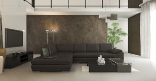 τρισδιάστατη σοφίτα απόδοσης καφετί καθιστικό ταπετσαριών με το φως της ημέρας Στοκ Εικόνες