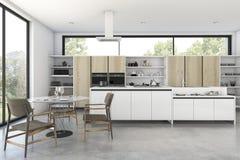 τρισδιάστατη σοφίτα απόδοσης ξύλινη κουζίνα με τη συμπαθητική άποψη από το παράθυρο Στοκ Εικόνα