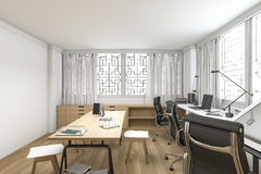 τρισδιάστατη σοφίτα απόδοσης ξύλινο λειτουργώντας δωμάτιο ύφους Στοκ εικόνα με δικαίωμα ελεύθερης χρήσης