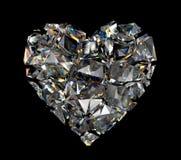 τρισδιάστατη σπασμένη καρδιά κρυστάλλου διαμαντιών Στοκ Εικόνα