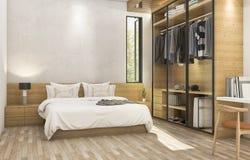 τρισδιάστατη συμπαθητική ξύλινη σύγχρονη κρεβατοκάμαρα απόδοσης με το συμπαθητικό γραφείο υφασμάτων Στοκ εικόνες με δικαίωμα ελεύθερης χρήσης