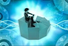 τρισδιάστατη συνεδρίαση χαρακτήρα με το lap-top στην απεικόνιση σκαλών Στοκ Εικόνες