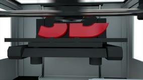 τρισδιάστατη συσκευή εκτύπωσης που δημιουργεί ένα τρισδιάστατο κείμενο Ολόκληρη η διαδικασία επιταχύνεται Ρεαλιστική ζωτικότητα ελεύθερη απεικόνιση δικαιώματος