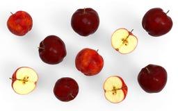 τρισδιάστατη συλλογή μήλων απεικόνισης κόκκινη που απομονώνεται στο άσπρο υπόβαθρο Στοκ Εικόνες