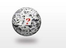 Τρισδιάστατη σφαίρα ερωτηματικών Στοκ Εικόνα