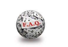Τρισδιάστατη σφαίρα ερώτησης FAQ Στοκ Φωτογραφίες