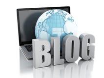 τρισδιάστατη σφαίρα δικτύων με τη λέξη blog και το lap-top Στοκ φωτογραφία με δικαίωμα ελεύθερης χρήσης
