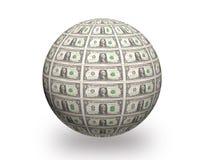 Τρισδιάστατη σφαίρα δολαρίων Στοκ φωτογραφίες με δικαίωμα ελεύθερης χρήσης
